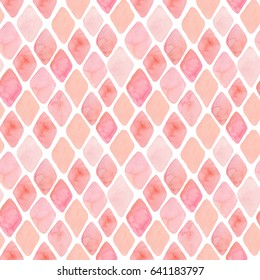 Watercolor seamless pattern with pink elements. Wedding background. Watercolor texture