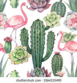 Watercolor seamless pattern of pink flamingo, cacti and succulent plants isolated on white background. Flower illustration for your projects, greeting cards and invitations.