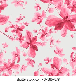Watercolor seamless pattern  pink orchid flowers-9.