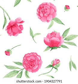 Watercolor seamless pattern with pink peonies and green leaves, on a white background, hand-drawn. For textile, greeting card, wrapping paper, wedding invitations.