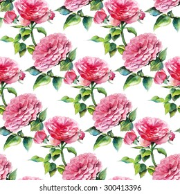 Watercolor seamless pattern with pink roses on a white background. Hand drawn raster illustration