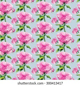 Watercolor seamless pattern with pink roses on a blue background. Hand drawn raster illustration