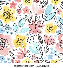 Watercolor seamless pattern with pink and yellow flowers and green leaves