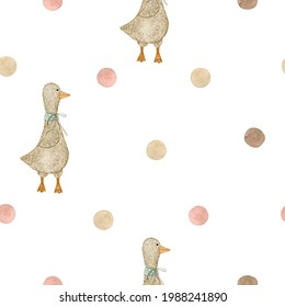 Watercolor seamless pattern polka dot pink brown and toy goose. Isolated on white background. Hand drawn clipart. Perfect for card, postcard, tags, invitation, printing, fabric, wrapping.