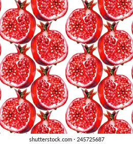 Watercolor seamless pattern with pomegranates on a white background. Hand drawn raster texture