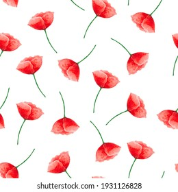 Watercolor seamless pattern with poppy flowers illustration and wallpaper background