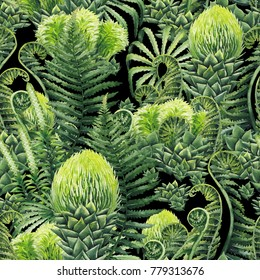 Watercolor seamless pattern with prehistoric plants. Hand painted exotic design