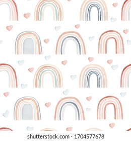Watercolor seamless pattern with rainbows and hearts in neutral colors. Hand drawn cute abstract background, digital paper perfect for kids fabric textile and nursery room.