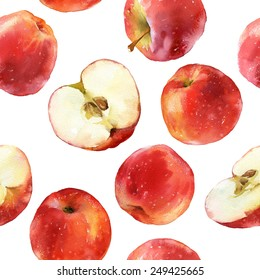 Watercolor seamless pattern with red apples, full and halves isolated on white background
