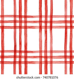 Watercolor seamless pattern red  checkered pattern, cage print,