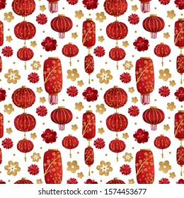 Watercolor seamless pattern with red lanterns and golden elements for the celebration of Chinese New Year 2020.Hand drawn lanterns, golden details, flowers for making cards and for your own design.