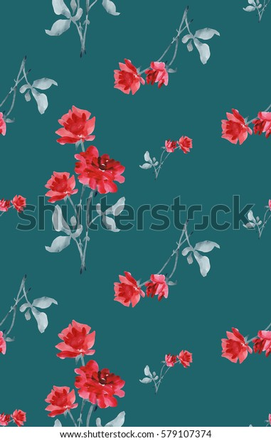 Watercolor seamless pattern  of  red roses on deep-green background
