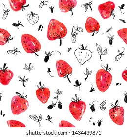 Watercolor seamless pattern of red strawberries and its silhouettes on a white background.