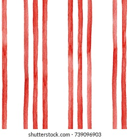 Watercolor seamless pattern red vertical stripes, Christmas print