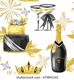 Watercolor seamless pattern in retro gold style. Jewellery diadem, golden leaves, bottle of Champagne, wineglass, big cake. Vintage New Year illustration. Ready for anniversary and holidays design.