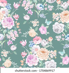 Watercolor seamless pattern with rose flowers. Perfect for wallpaper, fabric design, wrapping paper, surface textures, digital paper.