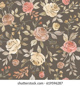 Watercolor seamless pattern with roses. Seamless watercolor background with floral elements, roses, branches, grass, herbs, leaves, foliage. Hand painted watercolor illustration on dark background.