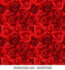 Watercolor seamless pattern of roses. Botanical wedding illustration.