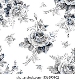 Watercolor seamless pattern roses in bud M. Beautiful pattern for decoration and design. Trendy print. Exquisite pattern of watercolor sketches of the flower. Vintage. White background.