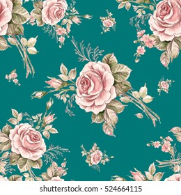 Watercolor seamless pattern roses in bud-7. Beautiful pattern for decoration and design. Trendy print. Exquisite pattern of watercolor sketches of the flower. Vintage.