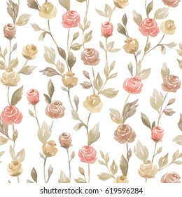 Watercolor seamless pattern with roses and buds. Seamless watercolor background with floral elements, roses, leaves, branches. Hand painted watercolor illustration on white background.
