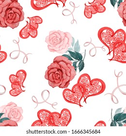 Watercolor seamless pattern with roses and decorative hearts. Beautiful wedding print. For any kind of a design.