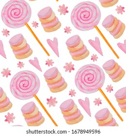 Watercolor seamless pattern with round pink candies and pink marshmallows, pink hearts on an isolated white background