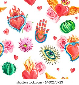 Watercolor seamless pattern sacred heart and eye, hand, cactus, pink roses. Mexican print.