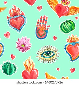 Watercolor seamless pattern sacred heart and eye, hand, cactus, pink flower. Mexican print.
