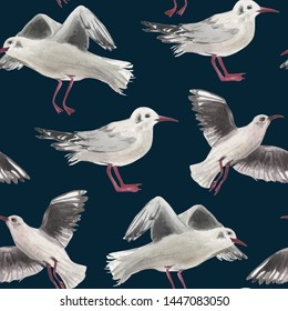 Watercolor seamless pattern of seagulls. On the topic of outdoor activities on the coast near the water. Summer mood in a composition on a dark blue background.