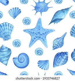 Watercolor seamless pattern seashells.Watercolor hand drawn painting illustration isolated on white background.
