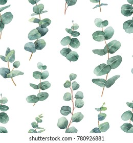Watercolor seamless pattern with silver dollar eucalyptus leaves and branches. Background for textile, paper and other print and web projects.