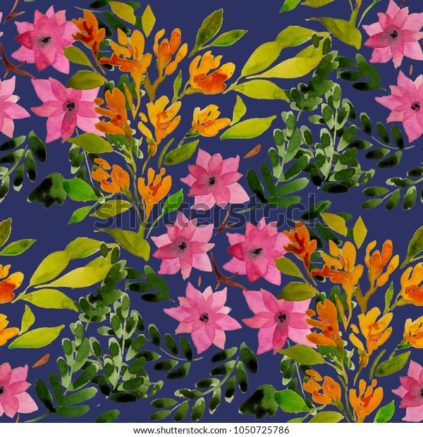 Watercolor seamless pattern with simple hand drawn flowers. Floral print.