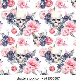 Watercolor seamless pattern with skull and peonies flowers, succulents, fern. Hand painted repeating background with floral elements. Fashion style texture