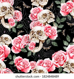Watercolor seamless pattern with skull and roses flowers,leaves. Illustration