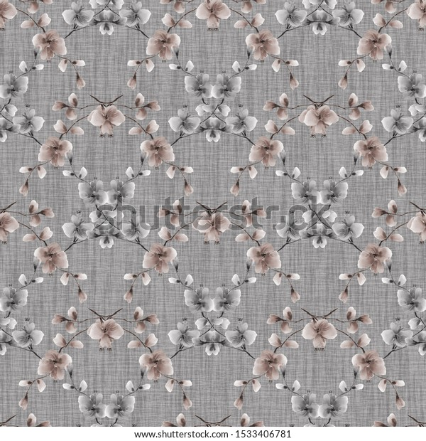Watercolor seamless pattern of small beige and gray flowers on the dark gray background - 10