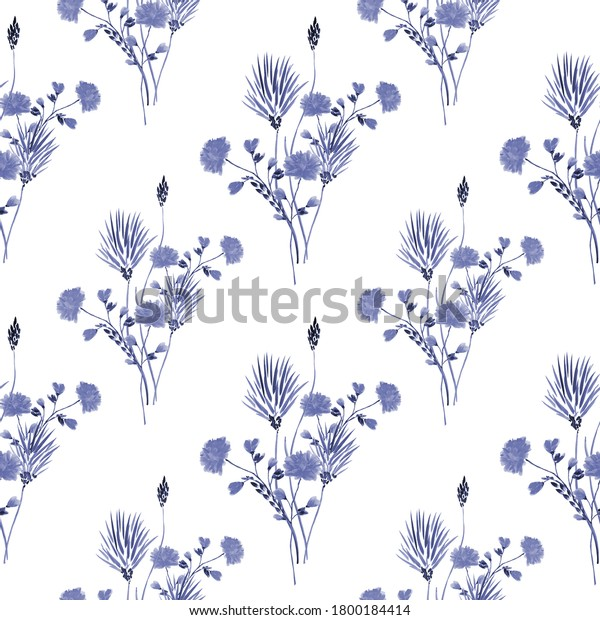 Watercolor seamless pattern of small bouquets with wild blue flowers on a white background - B