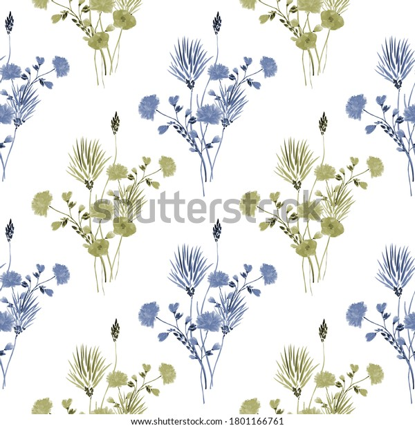 Watercolor seamless pattern of small bouquets with wild blue and green flowers on a white background
