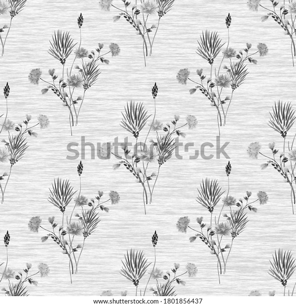 Watercolor seamless pattern of small bouquets with wild gray flowers on a gray linen background