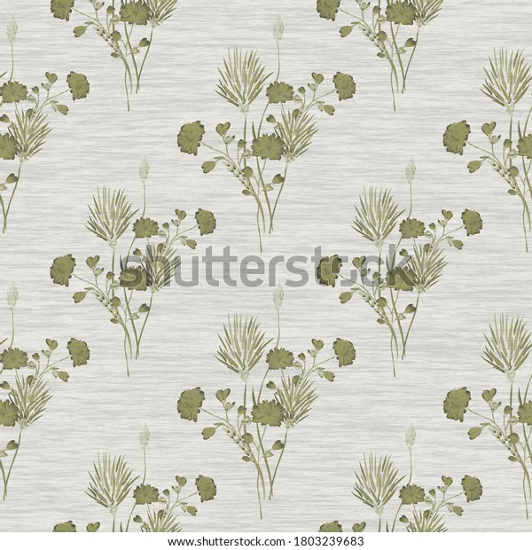 Watercolor seamless pattern of small bouquets with wild  green flowers on a linen green background