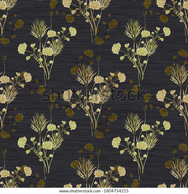 Watercolor seamless pattern of small bouquets with wild beigeand green flowers on the black background
