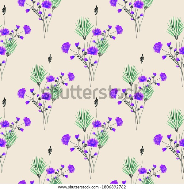 Watercolor seamless pattern of small bouquets with wild green and violet flowers on a light beige background
