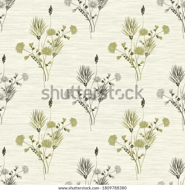 Watercolor seamless pattern of small bouquets with wild gray and beige flowers on a linen yellow background