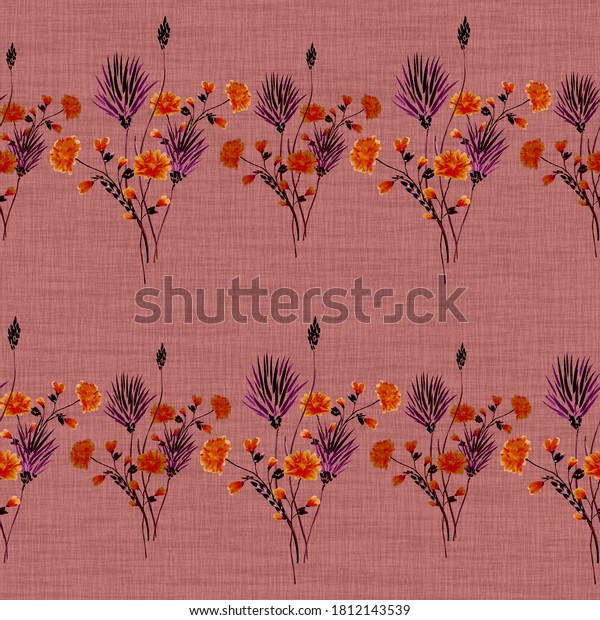 Watercolor seamless pattern of small bouquets in a row with wild violet and red flowers on a dark pink background