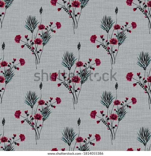 Watercolor seamless pattern of small bouquets with wild red and gray flowers on a dark gray background