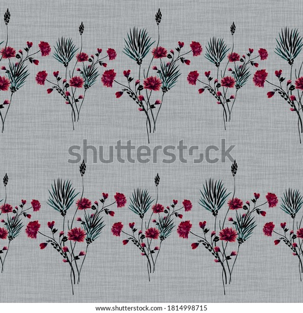 Watercolor seamless pattern of small bouquets with wild gray and red flowers on a linen gray background