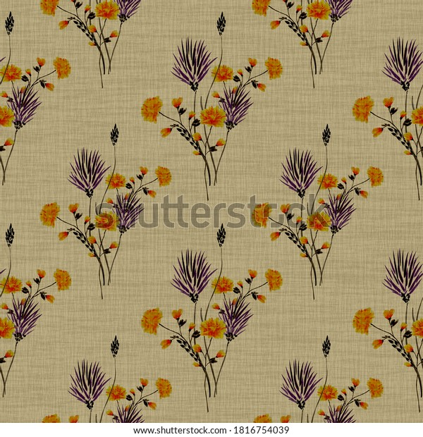 Watercolor seamless pattern of small bouquets with wild violet and orange flowers on a linen beige background