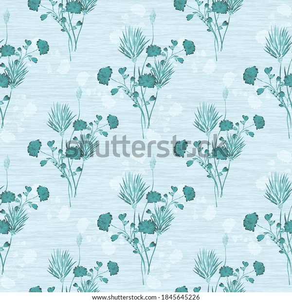 Watercolor seamless pattern of small bouquets with wild blue and white flowers on a blue background
