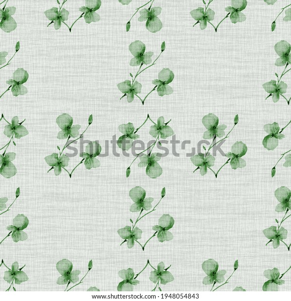Watercolor seamless pattern small  light green flowers and branches on the light cell linen green background