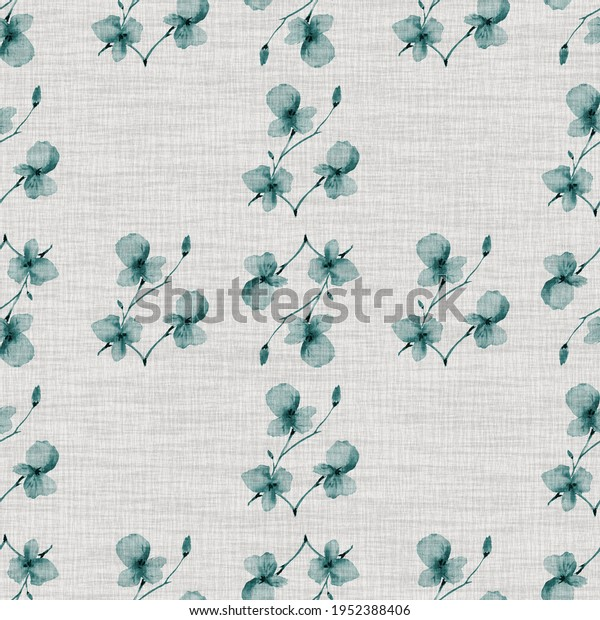 Watercolor seamless pattern small  light turquoise flowers and branches on the light cell linen gray background